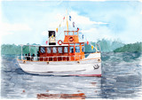 Pleasure ship (steamer) on a lake in Finland. Watercolor painting. - 107252907