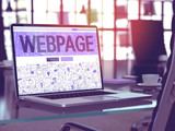 Webpage - Closeup Landing Page in Doodle Design Style on Laptop Screen. On Background of Comfortable Working Place in Modern Office. Toned, Blurred Image. 3D Render.