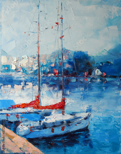 Art Oil Painting Picture Yachts berthed in Italy © shvets_tetiana