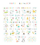 Fototapety Cute alphabet. Letters and words. Flora, fauna, animals.