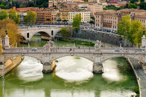 View of Roma, Tiber river and Vittorio Emanuele II bridge