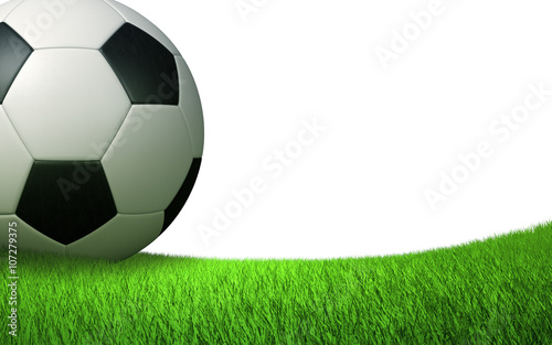 soccer ball close up on the lawn, sports soccer backdrop, isolated on white background