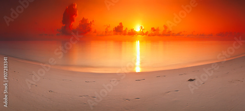 panorama dawn landscape sea tropical island Maldives