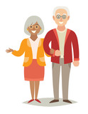 International family. Pensioner happy family. Old european man and old african-american woman couple. Cartoon characters happy pensioner family. Flat style vector illustration