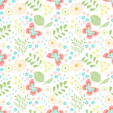 Floral seamless pattern with butterflies, leaves  for kids