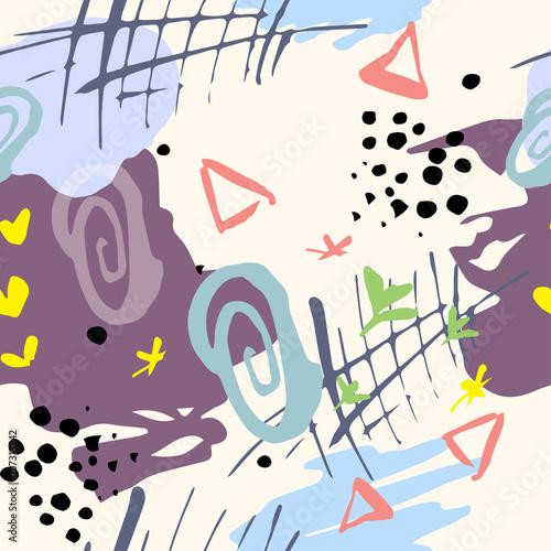 Fototapeta Vector modern seamless geometry pattern, abstract geometric background, retro texture. Hand Drawn textures
