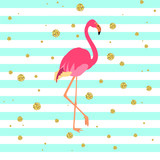 Fototapety Vector illustration of a pink flamingo on striped green and blue background with gold dots. Exotic bird made in flat style. Flat flamingo bird symbol. Flamingo icon. Wildlife concept.