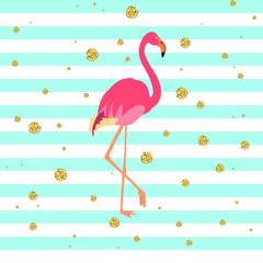 Vector illustration of a pink flamingo on striped green and blue background with gold dots. Exotic bird made in flat style. Flat flamingo bird symbol. Flamingo icon. Wildlife concept.