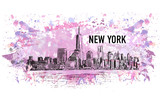 New York, vector drawing in colorful grunge and watercolor shape - 107316545