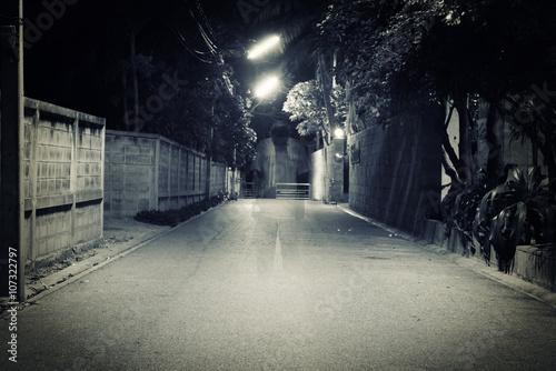 Foto op Canvas UFO dark street with old man ghost