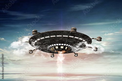 Foto op Canvas 3d illustration of a rasty ufo in the sky