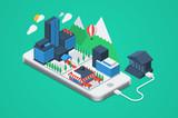 Vector city on a phone
