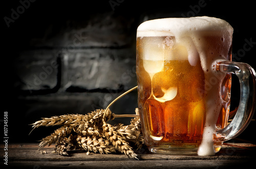 Beer near brick wall Poster