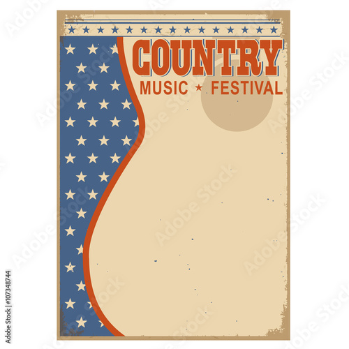 Aluminium Vintage Poster American Country music background with text