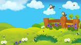 Happy farm scene with birds - illustration for children