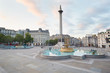 Empty Trafalgar square, early morning in London, natural light