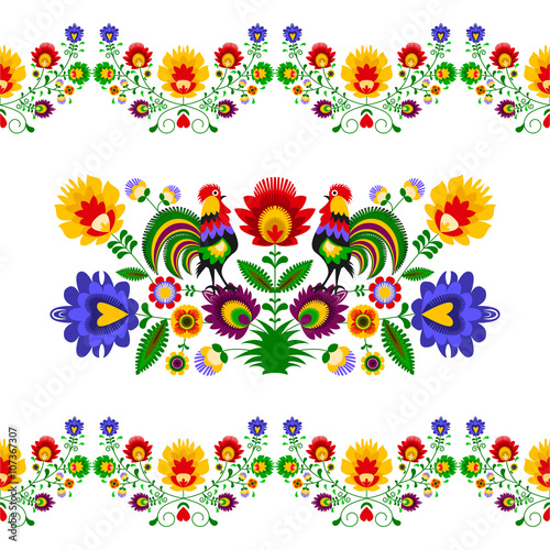 obraz PCV Polski folklor - rozbudowany wzór z kwiatami i kogutami
