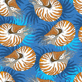 Seamless pattern with Nautilus Pompilius or chambered nautilus on the blue background with stripes. Marine background in contour style.
