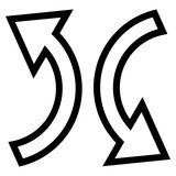 Replace Arrows vector icon. Style is outline icon symbol, black color, white background.