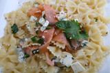 Pasta with salmon and cheese