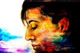art colorful painting beautiful girl face and abstract color background.