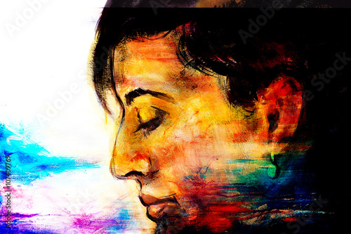 art colorful painting beautiful girl face and abstract color background. - 107409769