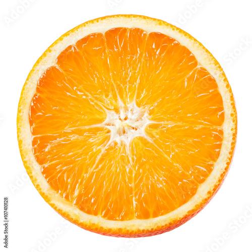 Orange fruit. Round slice isolated on white. Top view.