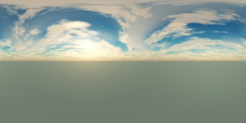 HDRI High resolution map. environment map, Round panorama, spherical panorama, equidistant projection of the sun in the clouds above the earth