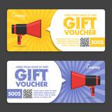 Fototapety Gift Voucher. Flat Design. Announcement
