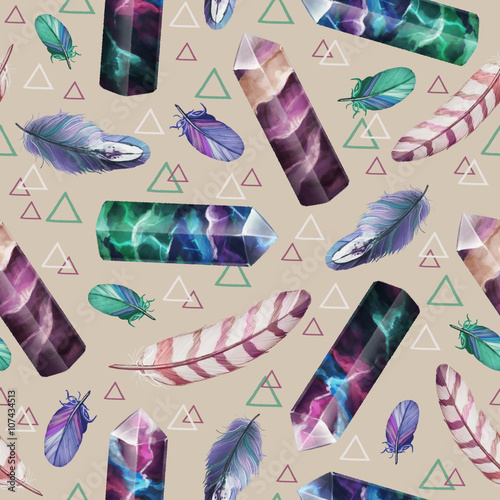 Cotton fabric Boho ethnic seamless pattern with fluorite crystals and feathers on beige background.