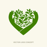 Vector organic logo concept. Eco organic emblem logo design template.  Organic green concept of natural products, healthy food, healthy meal