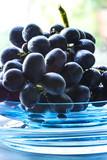Blaue Weintrauben auf einem türkisfarbigen Glasteller im Sonnenlicht