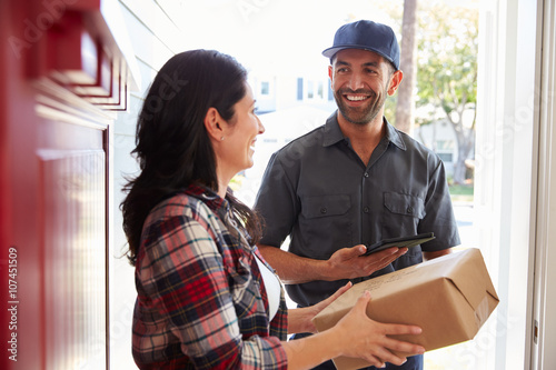 Poster Woman Receiving Package From Courier At Home