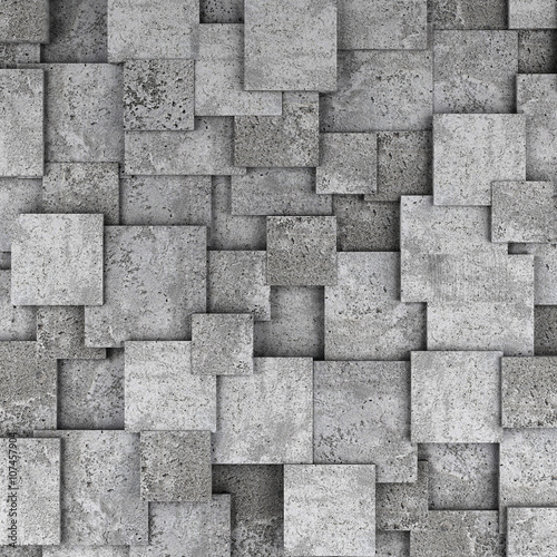 Fototapety, obrazy : Concrete 3d cube wall background. 3D rendering