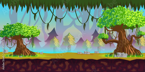 Foto op Canvas Turkoois Forest Game Background