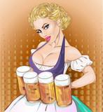 Oktoberfest pin-up kobieta z piwem