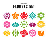 Spring flower icon set with colorful flat designs