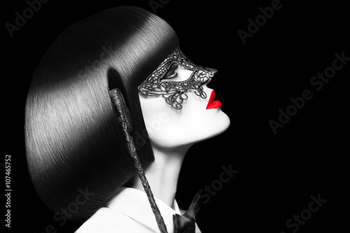 Sexy woman with red lips mask and whip selective coloring bdsm Tableau sur Toile