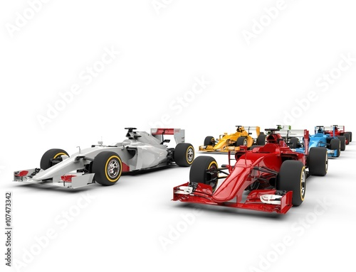 Juliste Formula one cars - starting positions - isolated on white background