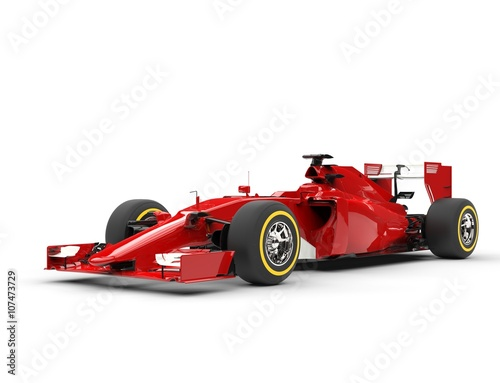 Fotobehang F1 Awesome red formula one car - beauty shot - isolated on white background.