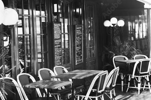 vintage european restaurant, black and white - 107474160