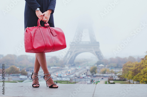 shopping in Paris, fashion woman near Eiffel Tower in France, Europe Poster