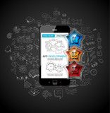 App Development Infpgraphic Concept Background with Doodle designs