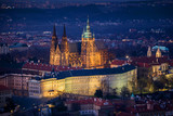 view on St. Vitus cathedral from Petrin hill, Prague, Czech Republic
