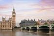 London beautiful view, UK, Big Ben tower, river  and bridge