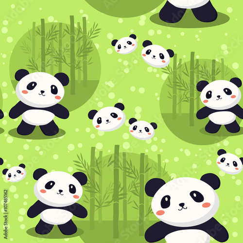 Obraz Seamless pattern with cute panda in green bamboo background.