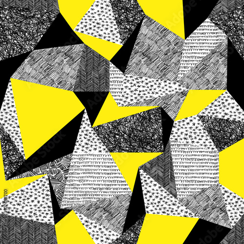 Cotton fabric Geometric seamless pattern in retro style. Vintage background.Tr