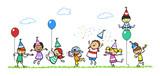 Fototapety Kinder feiern zusammen Geburtstag