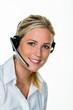 Leinwanddruck Bild - Frau mit Headset im Kundenservice