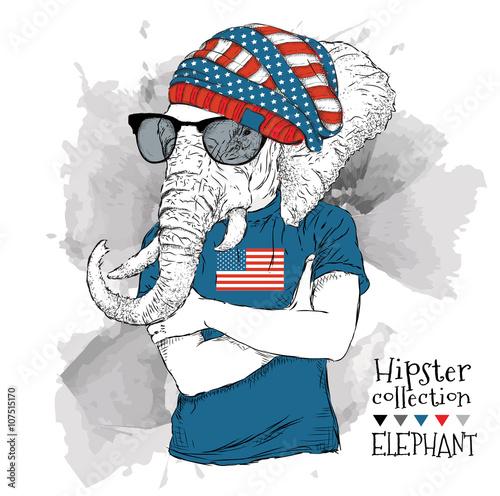 ilustracja-slon-ubieral-up-w-szklach-w-koszulce-z-drukiem-usa-flaga-i-ilustracji-wektorowych